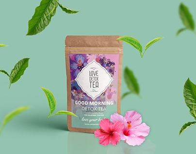 Love detox tea packaging