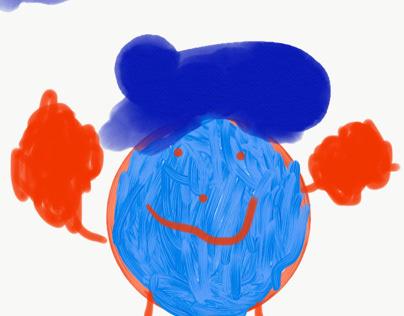 Blue and orange person