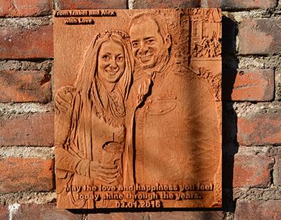 Wooden carved photo on Izabel  frends