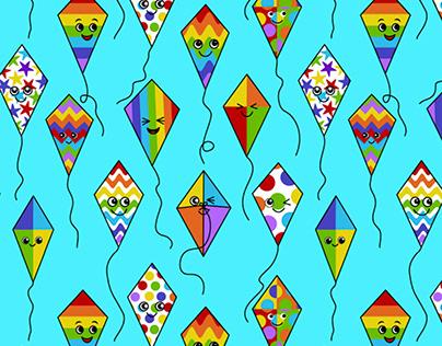 Seamless design Kites