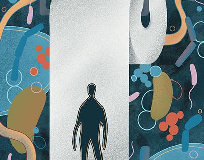 Editorial illustration – stool transplantation