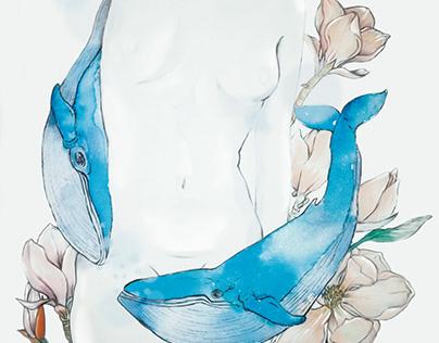 """Ilustración Digital """"Baile con Ballenas"""""""