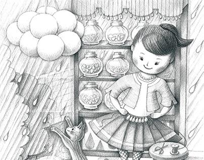 Pencil drawings of various girls