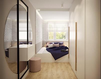 Long and narow bedroom
