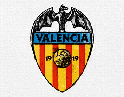 Retrofuturistic reimagined badge of ValenciaCF