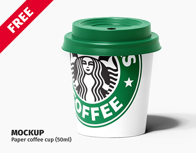 FREE. Paper coffee cup (50ml.) mockup.