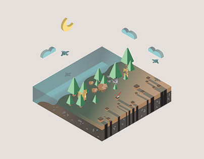 Deforestation Isometric Illustration