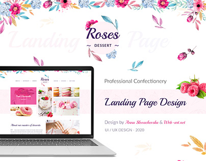 Landing page for a confectionery (pastry shop)