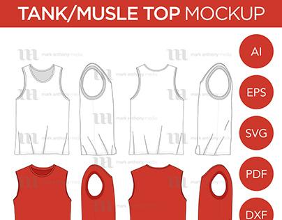 Tank Tops/Muscle Shirt Tops - Vector Template Mockup