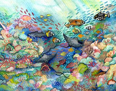 Great Barrier Reef Watercolour