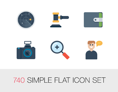 740 Simple flat icon set