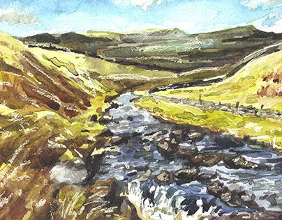 Ingleton Waterfalls Watercolour Painting