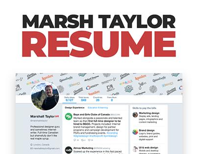 Personal Resume Design 2018 - Marshall Taylor