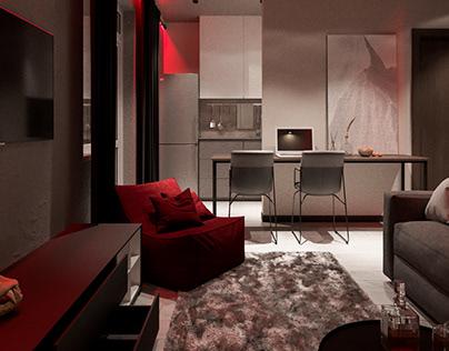Compact men's apartment