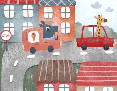 Cars and cute animals for kids