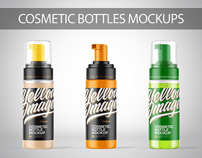 150 ml Cosmetic Bottles with Pump Mockups