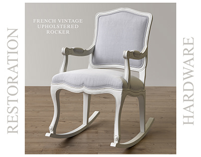 RH_French Vintage Upholstered Rocker_3D model