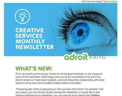 ADROIT DIGITAL - MONTHLY EMAIL NEWSLETTER