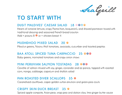Sea Grill Restaurant Menus