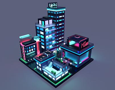 Neon city in isometric