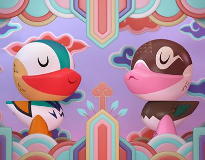 Quack Mandarin Duck Set Design