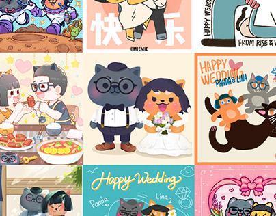 Panda&Lina wedding cards