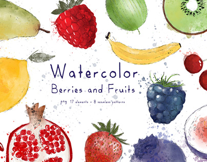 Watercolor Berries and Fruits ♥