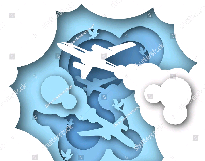 Paper art carve sky. Vector illustration