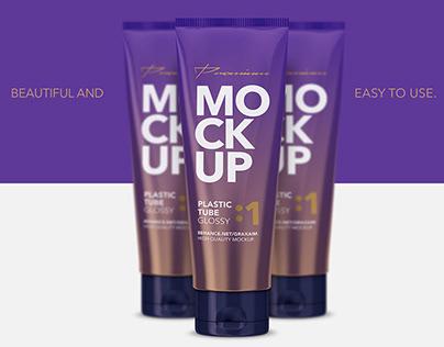 Glossy Plastic Cosmetic Tube Mockup #01