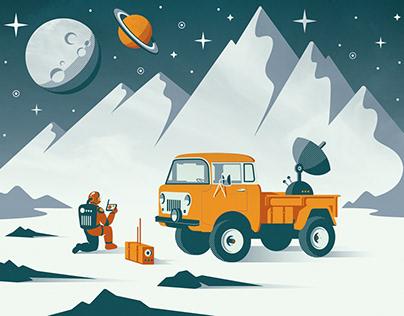 Retro Jeep in Space