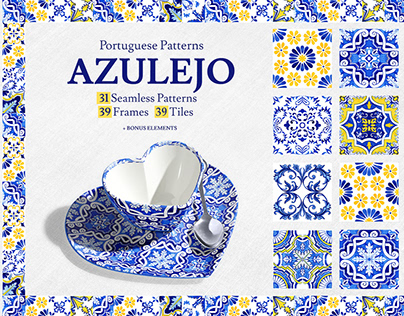 Portuguese Azulejos. Watercolor Tiles & Patterns