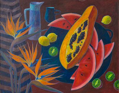 Papaya and strelizia