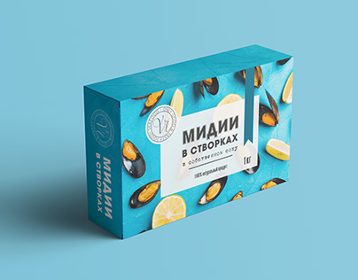 Packaging design for mussels in sauce