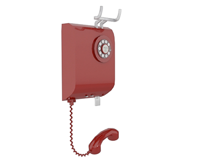 Wall telephone assembly - 3D Modelling