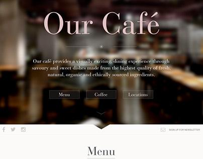 Single page mockup for a Café