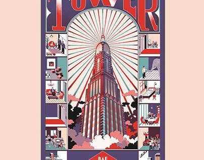 """Novel """"Tower"""" Bookcover illustration."""