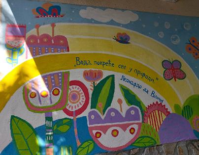 Mural about water save in kindergarten