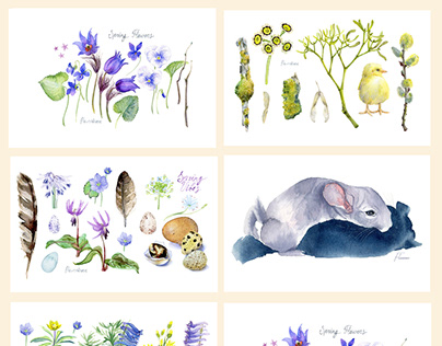 """Botanical watercolor greeting cards """"Spring vibes"""""""