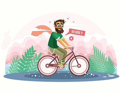 Man Riding Bicycle Vector Illustration Free Download
