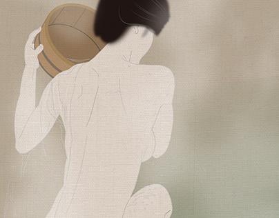 Japanese woman of the Edo era of bathing