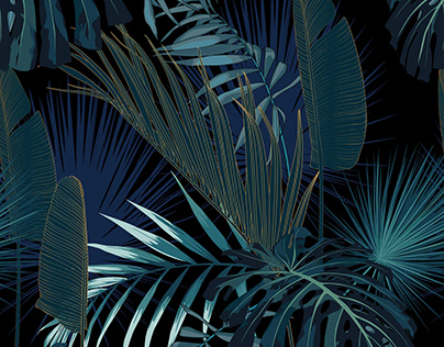 Tropical night. Exotic dark jungle wallpaper.