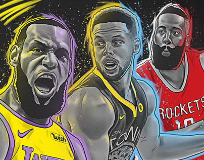 NBA MVP ILLUSTRATION - LEBRON CURRY HARDEN