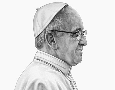 Pope Francis silver point drawing