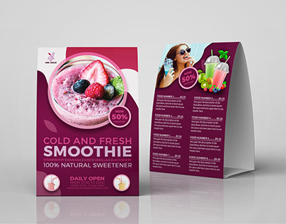 Smoothie Table Tent Menu Template