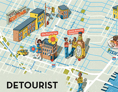 Map illustrations for inflight magazine