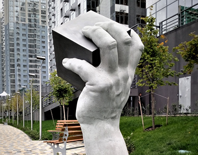 Roots, concrete, stainless steel, 220cm, 2020