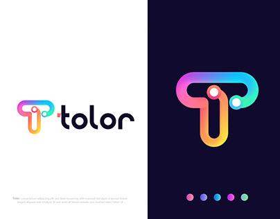 Modern transection T letter logo design for tolor