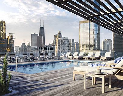 3D render of a rooftop pool