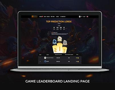 Game leaderboard UI concept