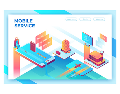 Mobile service isometric illustration